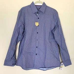 NWT Tasso Elba | Blue Patterned Button Down Shirt